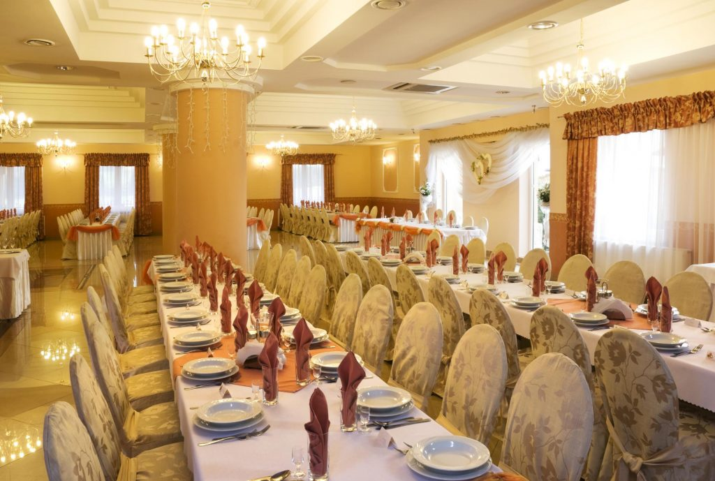 Event is decorated with the chairs and tables